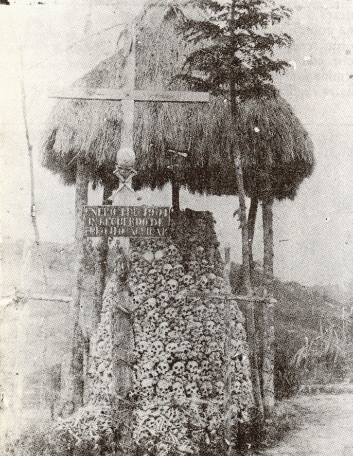 1903 of a pile of skulls from